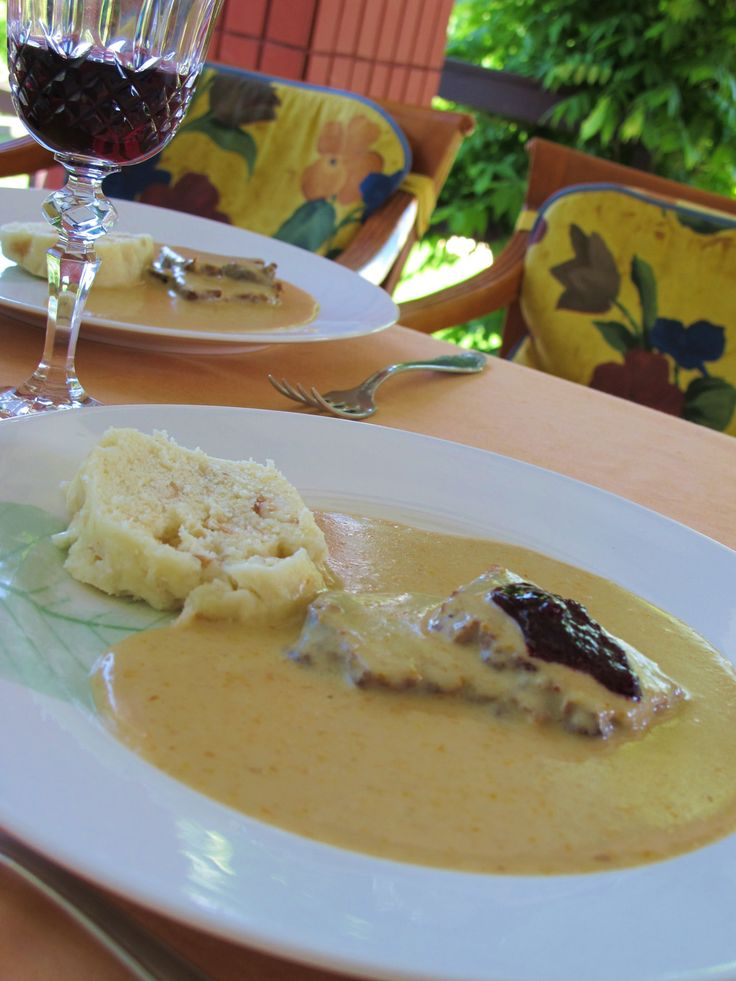 Beef tenderloin with knedle from Czech Republic (Sviečková na Smotane)