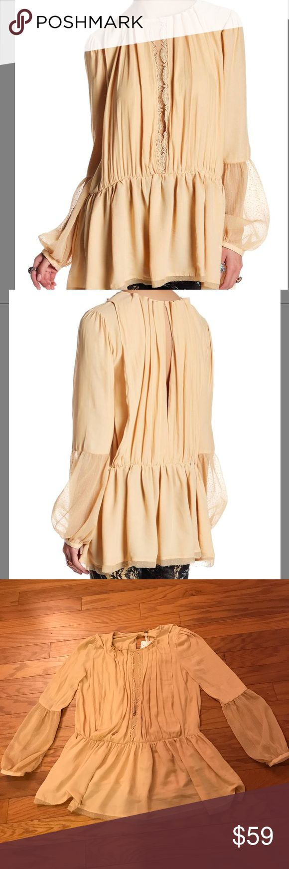 Free People Soul Serene Peplum Top Free People Soul Serene Peplum Top. Size Small. Crew neck. Sheer sleeves. Back keyhole closure. Pleated throughout with Peplum style hem. Hits below hip. See stock photo for color. NWT! 100% polyester. Free People Tops