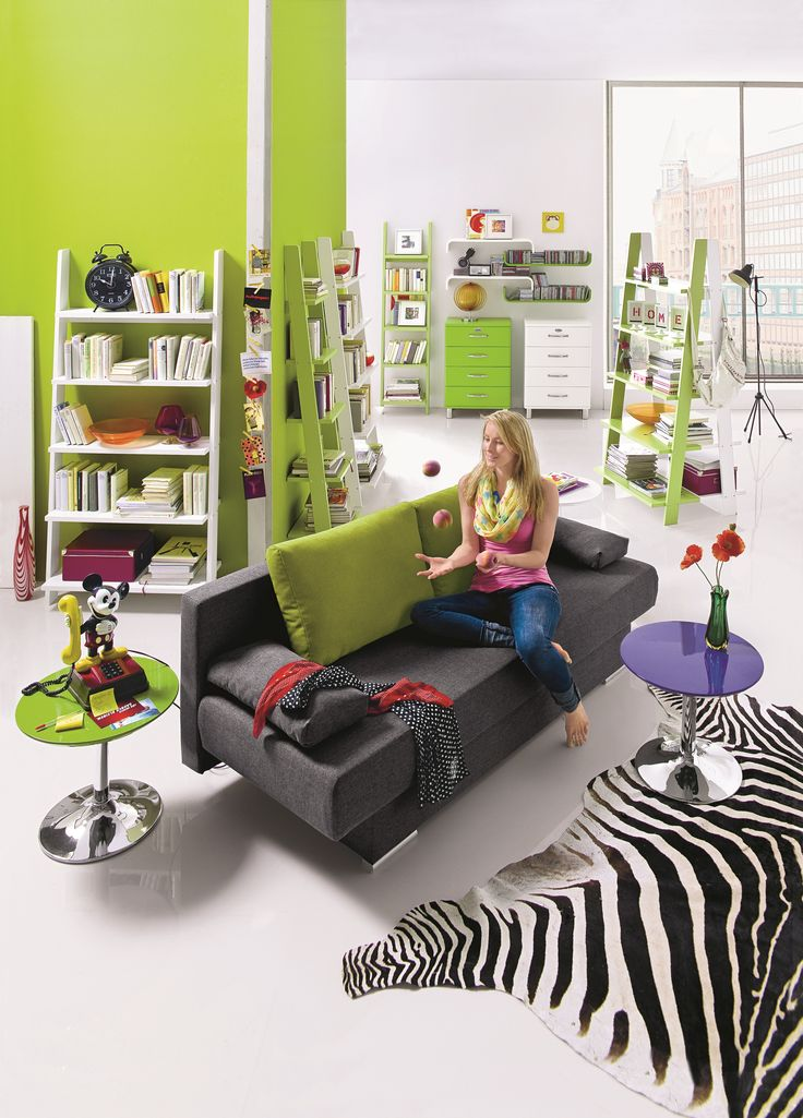 Schlafsofa Amara   Webstoff Anthrazit / Grün. Kommode Fransisco Und  Wandregal Ivett In Verschiedenen Farbausführungen. Sofa Couch