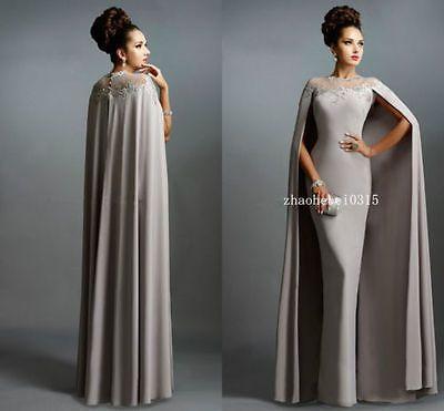 Dubai Kaftan Jersey Cape Evening Dresses Muslim Arabic Long Formal Party Gowns