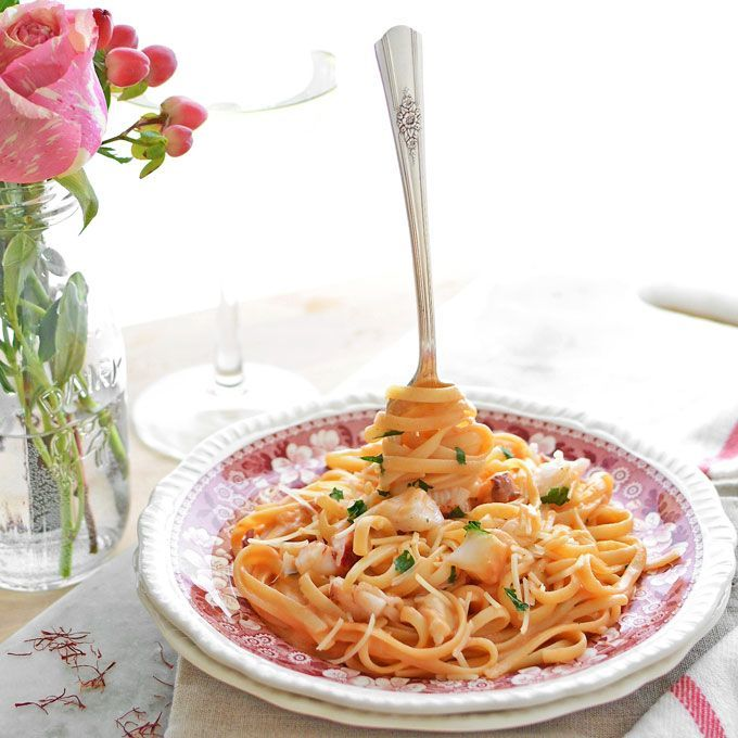 My kind of #VDay dinner! >> Lobster Linguine in Blushing Saffron Sauce from Simple Seasonal