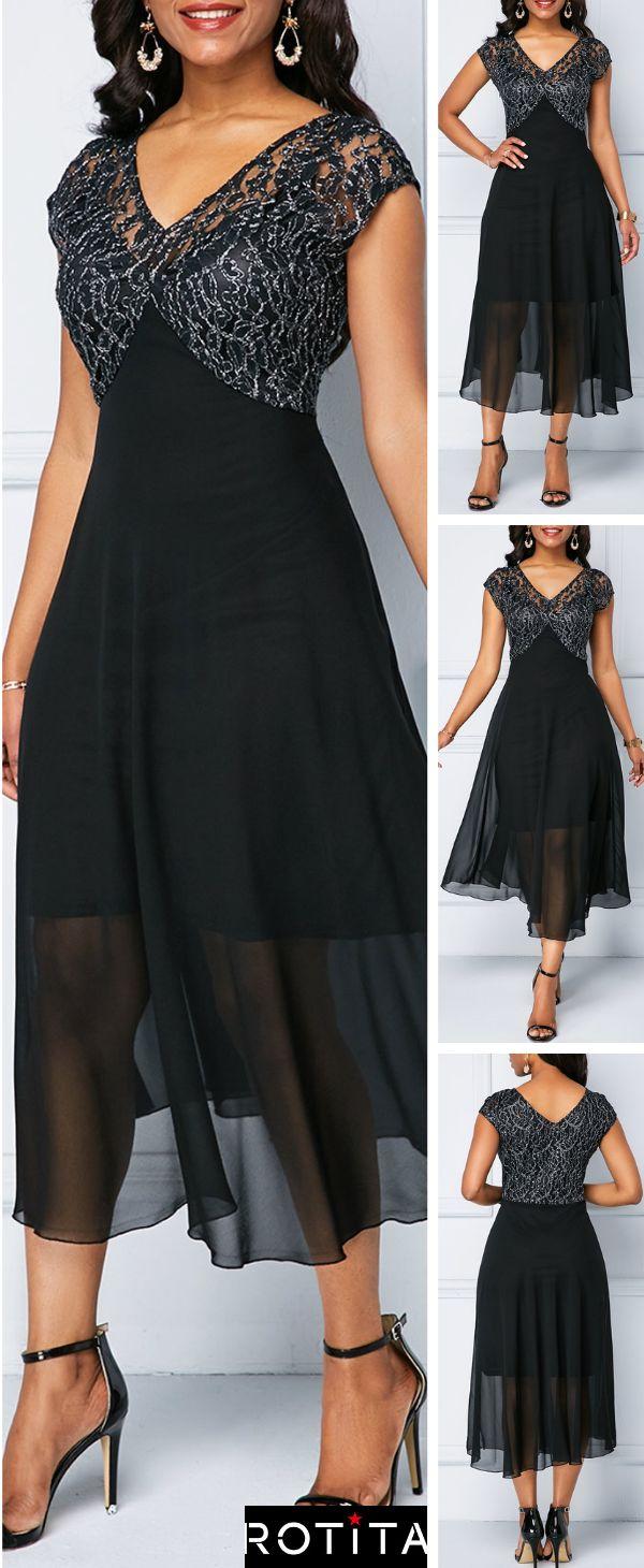 V Neck Lace Patchwork Chiffon Dress