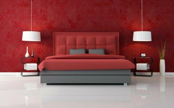 Minimalistische rote Schlafzimmer kopfteil gepolstert hängelampen