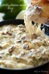 Philly Cheese Steak Dip--shoulder steak, onion, green pepper, cream cheese, mayo and provolone cheese.