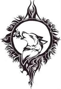 Wolf Head Tattoo Drawing Design And Tribal Moon With...kind of old school style but I really love it...has alot of potential to change it around some