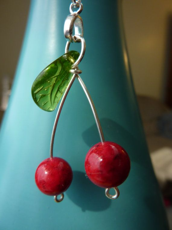 Juicy Cherry Necklace  Weirdly Cute Jewelry  (for more happy healthy humorous & creative hoopspiration please check out: www.HipTheHoopla.com & www.facebook.com/HipTheHoopla ~ thanks! :) Also www.ToucheToon.com (cartoon humor) & www.DatingAndHandGrenades.com (relationship humor) ~ :-)