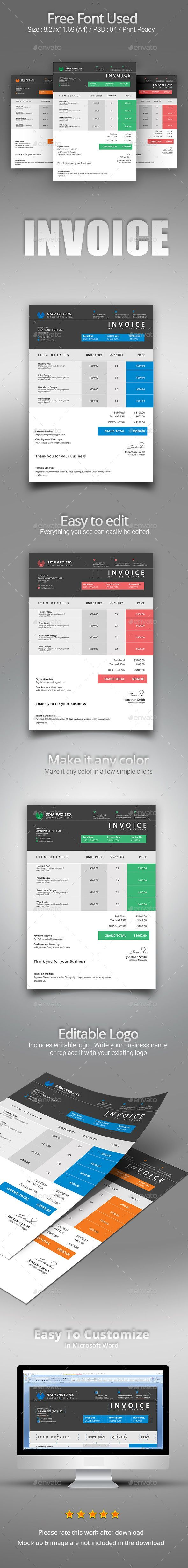 melhores ideias microsoft word invoice template pinterest clean psd vector eps indesign indd illustrator