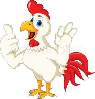 Happy cartoon rooster thumb up