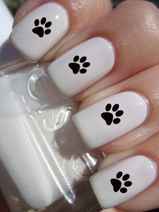 Paw Print Nail Decals 1 sheet of 12 decals by DulceGems on Etsy, $3.00