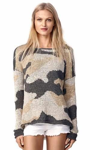Camo Knit. Unik strikket sweater i army/camouflage fra svenske Hunkydory. Modellen har rund udskæring og langt ærme. Strikket i fladgarn.