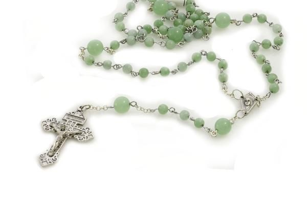 Rosary Natural Gemstone Jade Traditional Five Decade KTC-301 - Kalitheo Creations