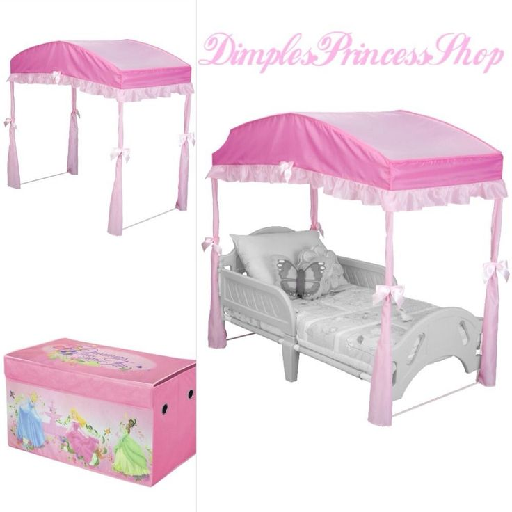 Pink Toddler Bed Canopy Girls Bedroom Furniture Disney Princess Toy Storage Box #DisneyDelta