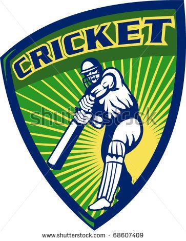 vector illustration of a cricket sports batsman  batting isolated on white set inside shield - stock vector #cricketworldcup #retro #illustration