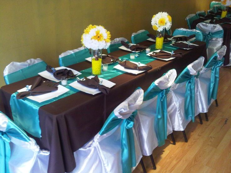 32 best images about blue and brown wedding decor on for Baby blue wedding decoration ideas