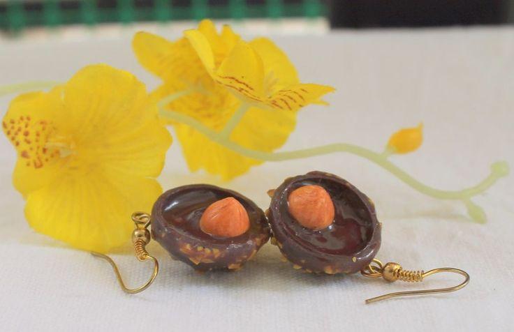 Jewelry earrings chocolate sweets Ferrero Rocher handmade  #Handmade #DropDangle