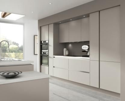 Novi warm grey – this smooth designed kitchen door can make the perfect mix and match for any kitchen and is part of our Horizon handleless kitchens range http://www.moores.co.uk/Definitive-Kitchens/Range-Selection/Novi/123/Warm%20Grey/2/8: