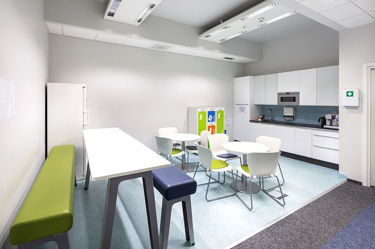 Pomieszczenie socjalne zaprojektowane dla Parexel Polska w biurowcu Business Garden w Warszawie