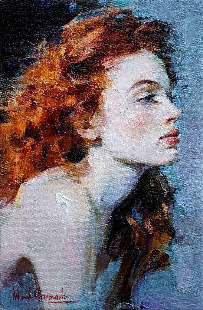 Porträtmalerei einer jungen rothaarigen Frau im P…