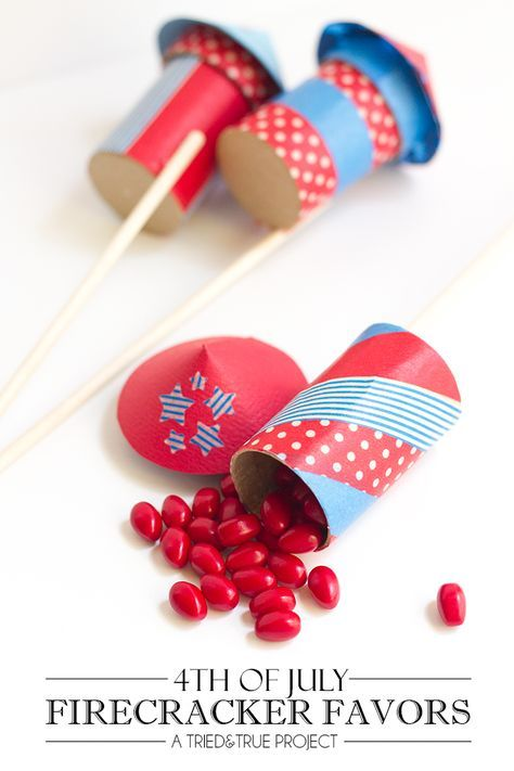 Follow these easy instructions to decorate and assemble your own 4th of July party favors shaped like firecrackers!