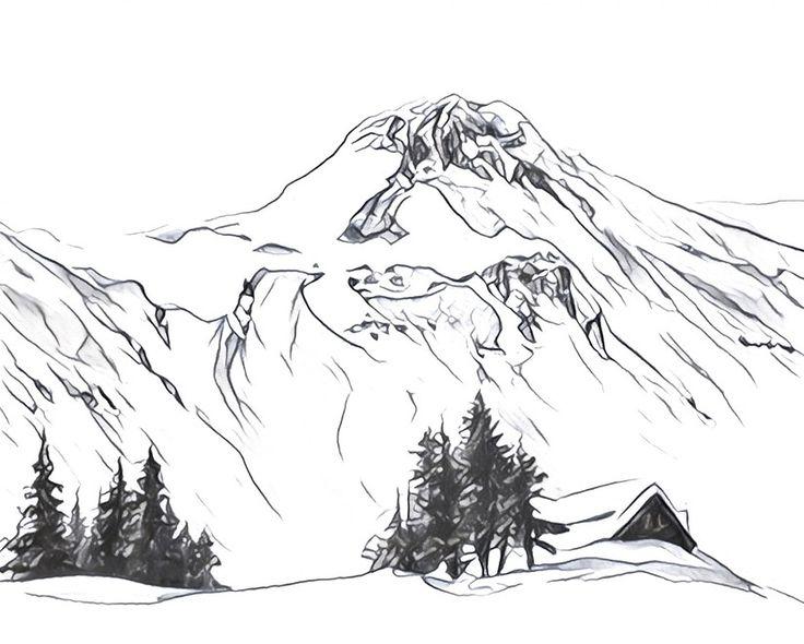 Dibujos Para Colorear Adultos Paisajes: Dibujos Para Colorear Para Adultos Montañas Nevadas
