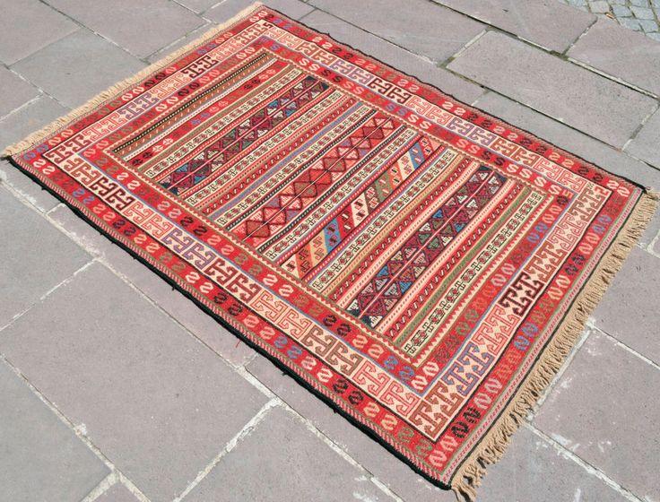 Turkish Kilim Rug 41u2033 X 56u2033 Kurdish Hand Woven Wool Sumac Rug 105 X 142 Cm