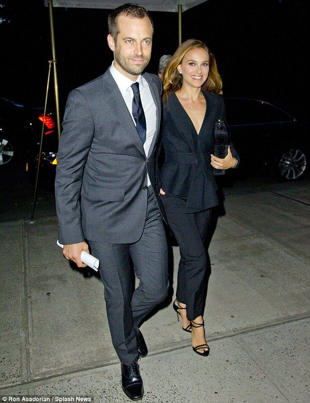 Taking a back seat: It was Natalie Portman's husband Benjamin Millepied in the spotlight on Monday night in New York, where he was honoured for his upcoming role as Director of the Paris Opera Ballet