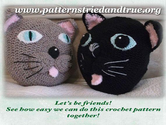 Cat Pillow Crochet Pattern, Black cat, Cat Lover, Sculpted Cat head cushion,  Cat Theme Home Decor, Instant Digital Download