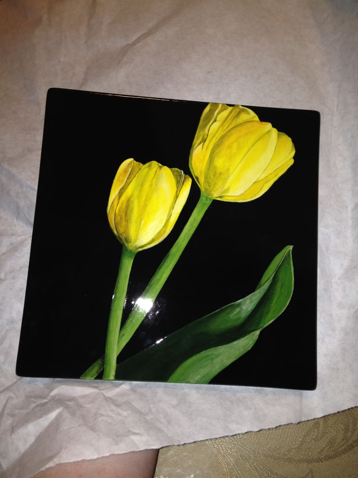 Painted pottery- yellow tulips