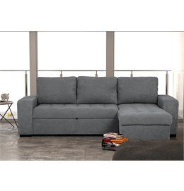 Chaise longue reversible de tela con cama HARRY