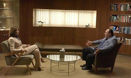 The Sopranos … Jennifer Melfi (played by Lorraine Bracco) and Tony Soprano (James Gandolfini) in session.