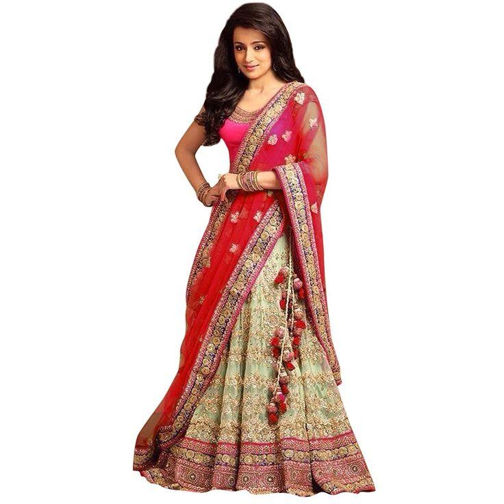 Trisha+Krishnan+Net+Zari+Work+Cream+Semi+Stitched+Lehenga+Style+Saree+-+S6151B at Rs 3188