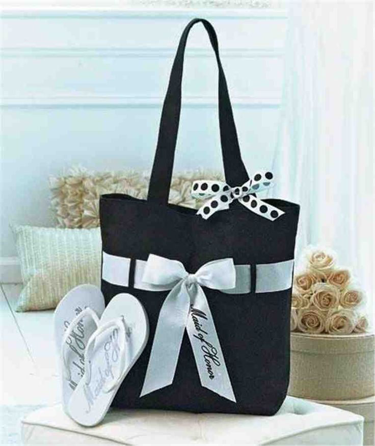 Wedding Tote And Flip Flop Set Is The Perfect Gift For Members Of Party Use Handy Black White To Carry Essential Items