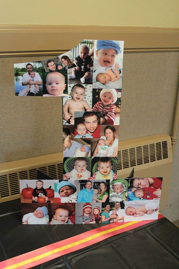 Xavier Logan's 1st Birthday Party with Mickey Mouse Theme. Picture collage on cut out number one. #collage #photo #birthday