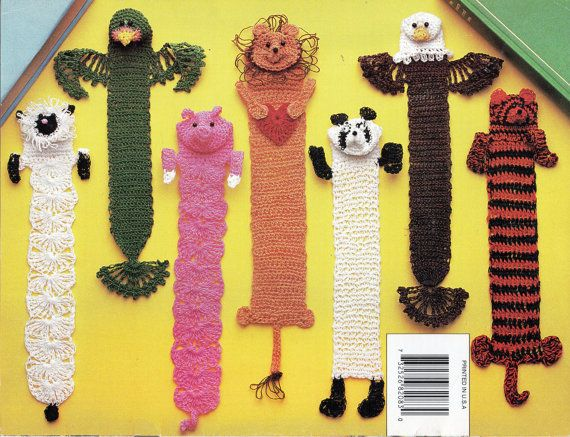 CR147 Crochet Bookmarks CROCHET PATTERN novelty animal bookmarks lion parrot eagle tiger lamb panda pig crochet cotton Please refer to the pictures above for information from pattern on sizes, materials used, needle size etc. Click on the white arrow half way up the picture on the right side. Where a discontinued yarn is used, I check the needle size for a modern equivalent and include in the description. This is meant as a guide only. Please check your tension. I have included an…