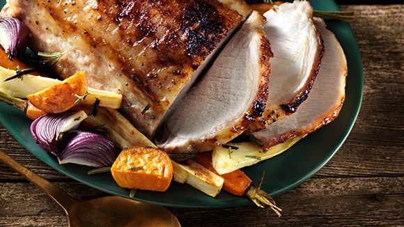 Maple-Glazed Pork with Roasted Root Vegetables #recipe.