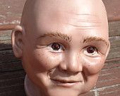 Kay McKee 1992 Bald Doll Head. Mother Goose or that creepy old man from the park? Maybe both.