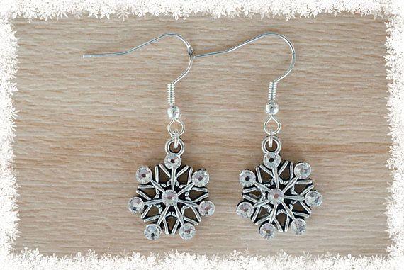 Silver Snowflake Earrings VII  Christmas Earrings  Snow
