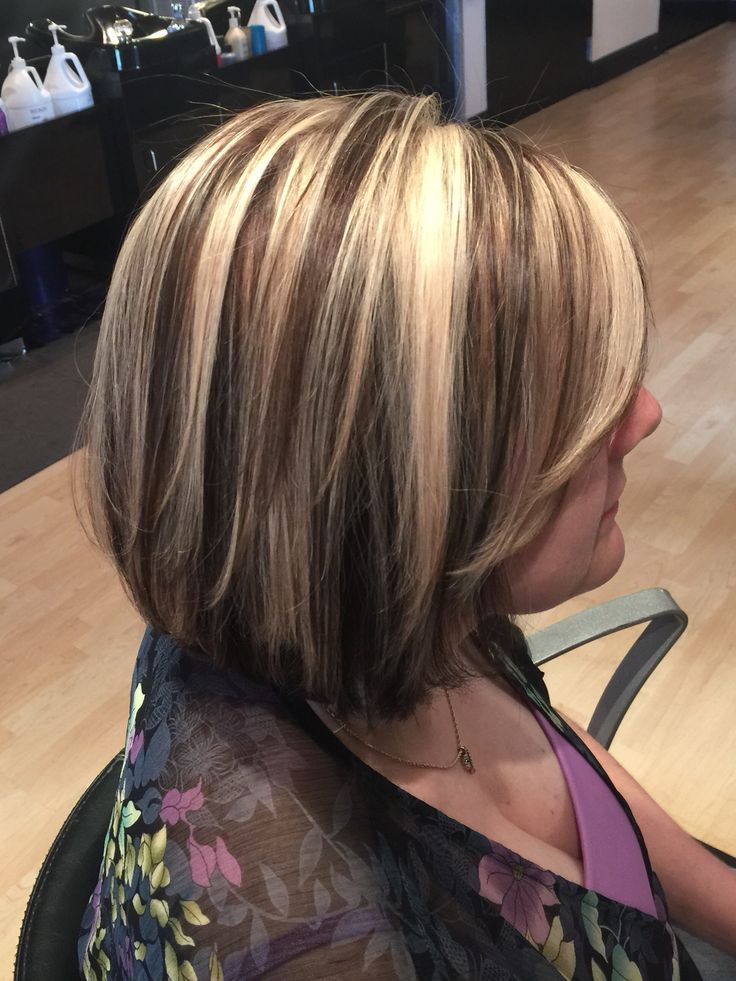 Rich Chocolate Lowlights Chunky Blonde Highlights Bob By