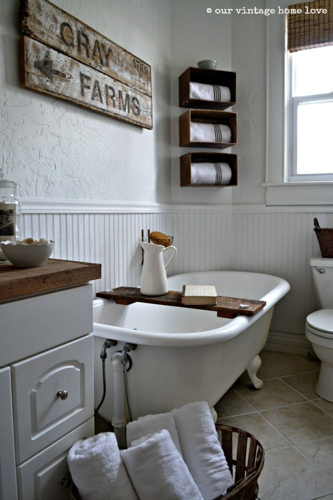 Country Farmhouse Bathroom With Clawfoot Tub