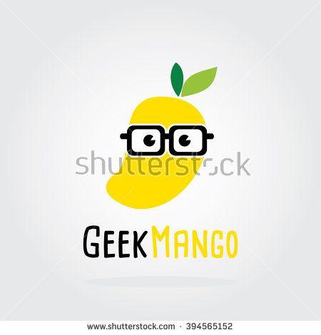 Geek Mango Logo Flat Design. Fruit Vector illustration. nerd, smart, hipster - Fruit icons and symbols. Mango vector icons flat style. Mango isolated vector. Mango isolated on white background. - stock vector