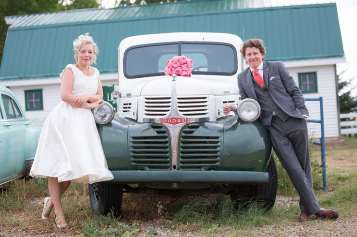 Bride and groom with old vintage Dodge car in Swift Current, Saskatchwan
