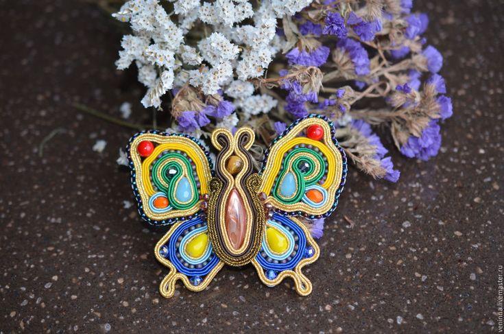 """Купить Сутажная брошь """"Бабочка"""" - комбинированный, бабочка, брошь, сутажные украшения, сутажная брошь"""