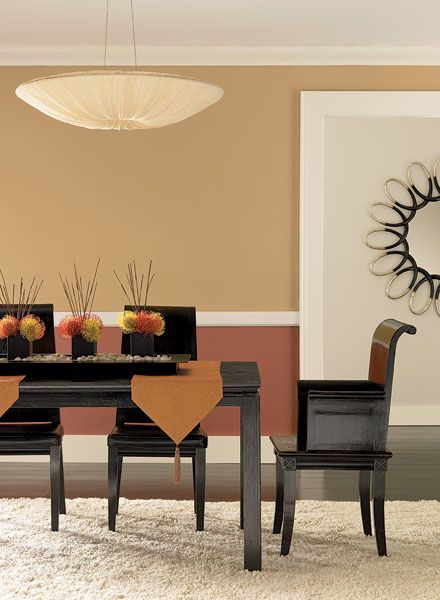 Benjamin Moore Paint Colors - Orange Dining Room Ideas - Sweet & Subtle Orange Dining Room - Paint Color Schemes . . . . . Upper Wall - Farm Fresh (AF-360); Lower Wall - Audubon Russet (HC-51); Hallway Wall (seen through doorway) - Mystic Beige (2162-60).