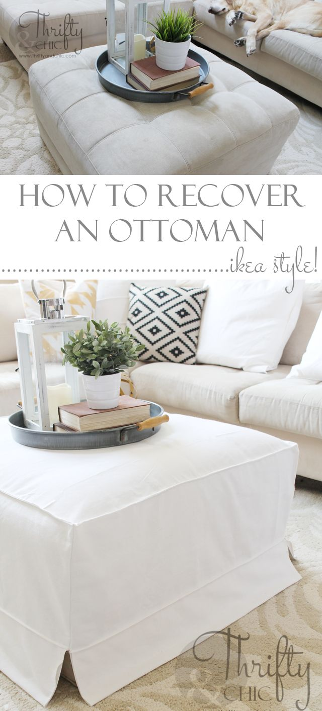 How to make a slipcover for an ottoman or coffee table. Great way to get that cute Ikea slipcover look!