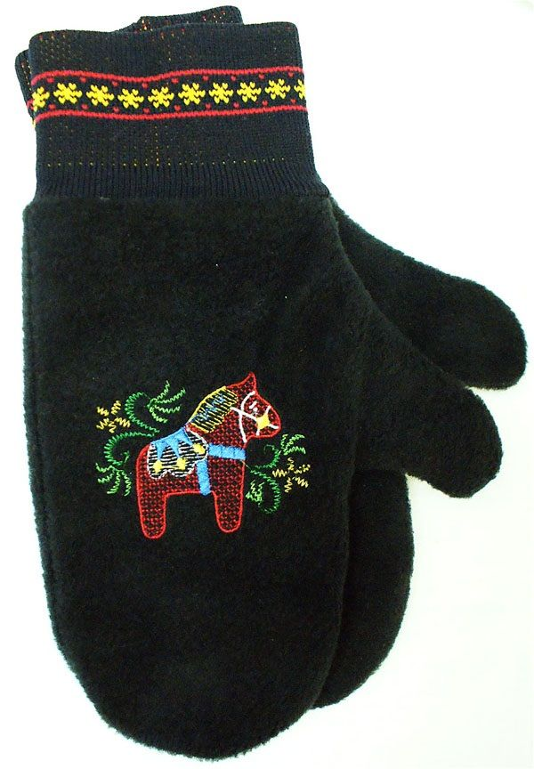 Black Dala Horse Mittens made for Forest Lake, MN-based Odin International, which sells them to their Scandinavian gift shops across the US. By Carolyn Cagle of Strikke Knits, in Stacy, MN.