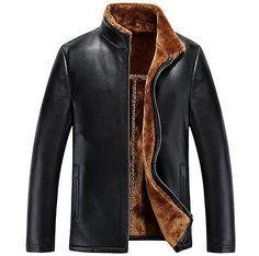 Invierno cálido abrigo para hombre Cuero Genuino Piel de Oveja Abrigo De Piel Cordero Chaqueta De Lana Forrada