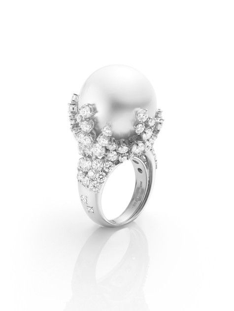 bijoux bulle ring18mm white south sea cultured pearl with 538ct diamond