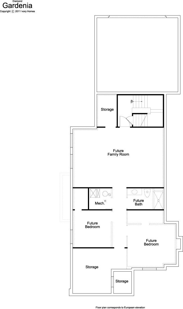 Gardenia Ivory Homes Floor Plan Basement Level