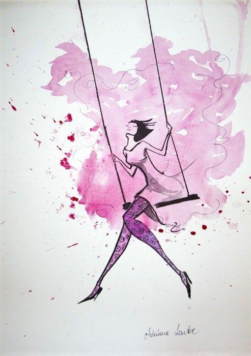 """""""LEKKOŚĆ CHWILI"""" praca akwarelą z dodatkiem piórka wykonana przez artystkę plastyka Adrianę Laube na papierze 50x35cm. Praca sygnowana."""
