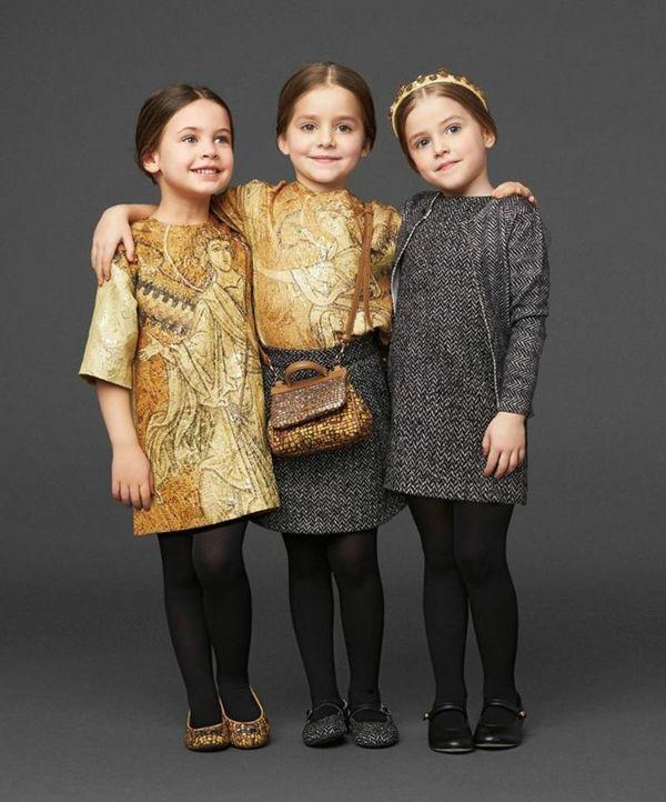 Festliche Kindermode Strumpfhosen Goldene Kleider